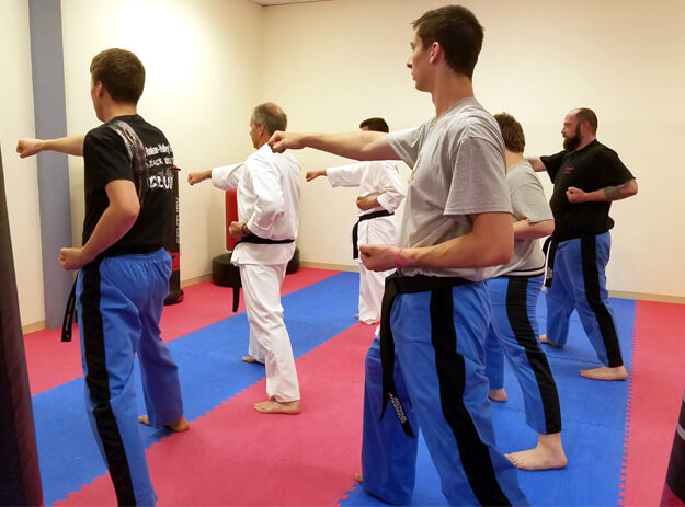 adult rouleau holley's tae kwon do black belts particpating in class