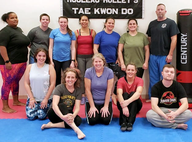 rouleau holley's fitness kickboxing students posed for photo